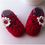 Hand Knit Newborn, Cotton Mary-Jane Style Shoes, Red & White