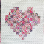 Liberty of London patchwork heart wallhanging, small quilt pinks, baby shower