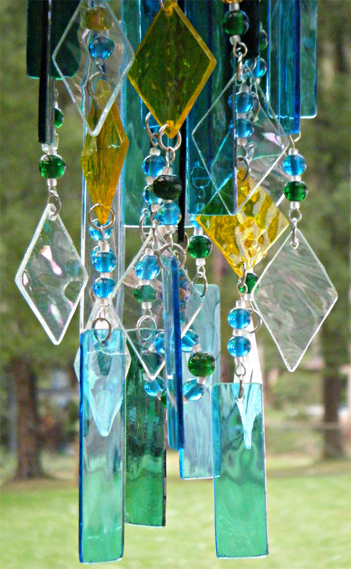 stained glass wind chime blue and green handcrafted