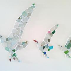 Three sea glass seagulls wall mosaic