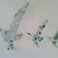Three sea glass seagulls wall mosaic