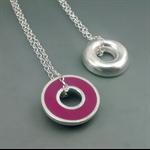 Argentium silver and resin donut pendant - Plum