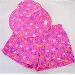 Toddler Hat & Shorts ~ Springtime Pink ~ Wide Brim