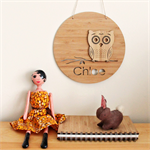 Custom Owl wall art bamboo laser cut plaque boxed nursery baby personalised