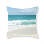 Aqua Waves on Beach 'Living' Cushion Range by Bessi Blu