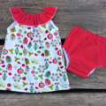 RESERVED KRISTY Christmas Ruffle Neck Dress and Nappy Cover Set