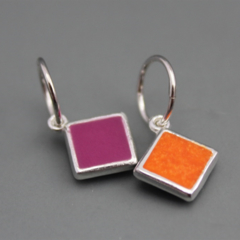 Reversible Sterling Silver resin Earrings
