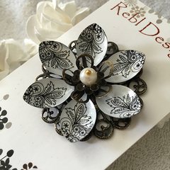 Lotus Flower Brooch -  Black and White pattern