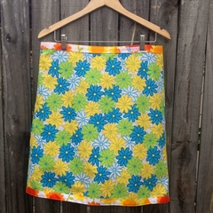 Vintage blue, green & yellow daisies A line skirt