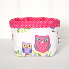 Fabric Storage Basket - Birds / Owls / Trees