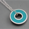 Argentium silver and resin donut pendant - Teal Blue