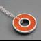 Argentium silver and resin donut pendant - Orange