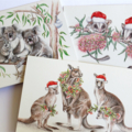 3 Christmas Cards - Australian animals in Santa hats, blank greeting cards