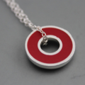 Argentium silver and resin donut pendant - Red
