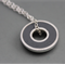 Argentium silver and resin donut pendant - Grey