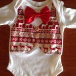 Baby Boy Christmas Bodysuit/Onesie/Outfit. Vest, bow tie. Xmas, festive, gift.