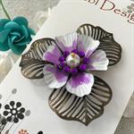 Poppy Flower Brooch -  Purple and White