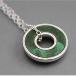Argentium silver and resin donut pendant - Grass Green