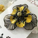 Poppy Flower Brooch - Yellow and Black