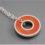 Argentium silver and resin donut pendant - Orange