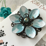 Lotus Flower Brooch -  Pale Blue and White