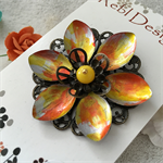 Lotus Flower Brooch -  Yellow and Orange