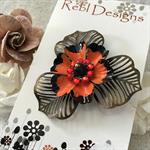 Poppy Flower Brooch - Orange and Black