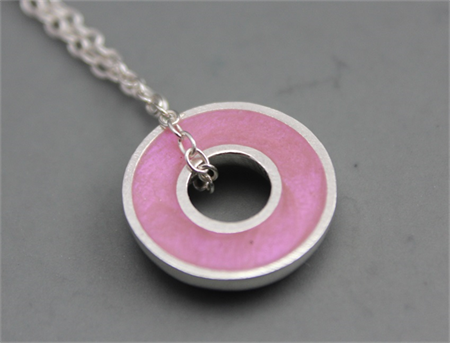Argentium silver and resin donut pendant - Pink