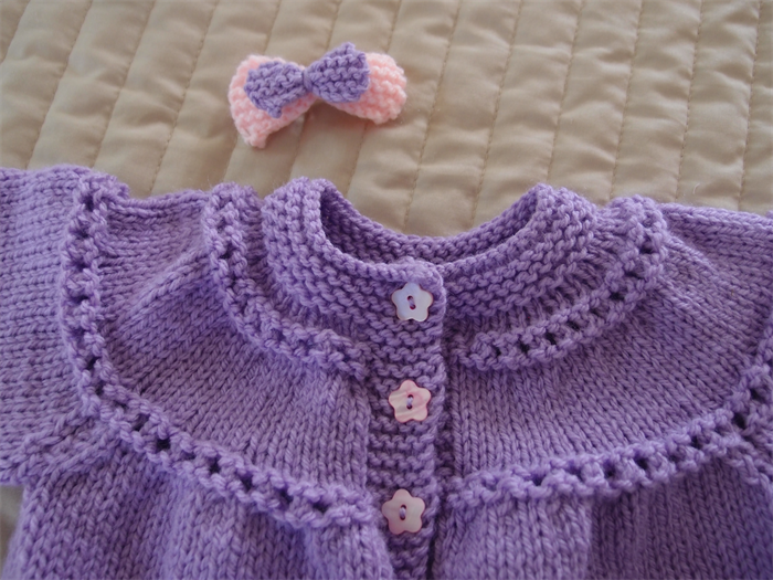 ffaf50484 SIZE 0-6 months - Hand knitted baby cardigan  jacket in purple  girl ...