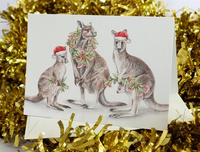 Christmas card with kangaroo family gum blossom and leaf wreath christmas card with kangaroo family gum blossom and leaf wreath santa hats m4hsunfo