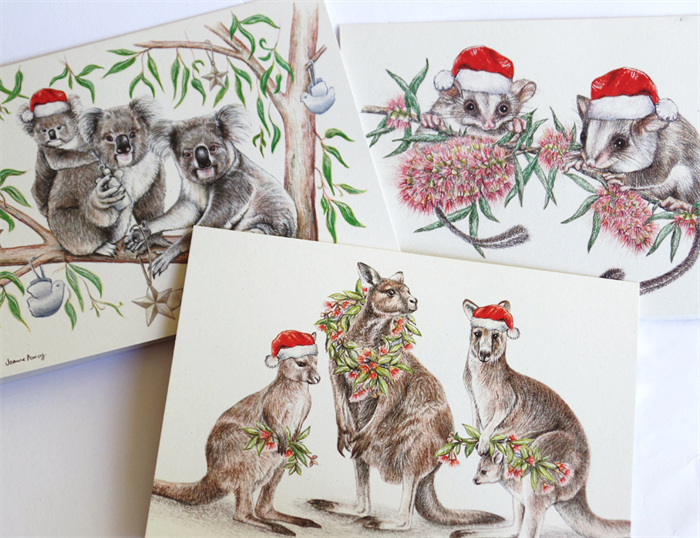 3 christmas cards australian animals in santa hats blank greeting 3 christmas cards australian animals in santa hats blank greeting cards m4hsunfo Choice Image