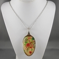 Upcycled/recycled vintage spoon resin pendant necklace, flowers, floral, print