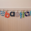 Fabric letters - 6-9 letters custom name or word banner with pegs, string in bag