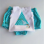 Te-pee & raccoon singlet & nappy cover teal white triangle geometric print