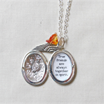 Customisable Quote Locket Necklace Bridesmaid Bridal Silver Wing Charm