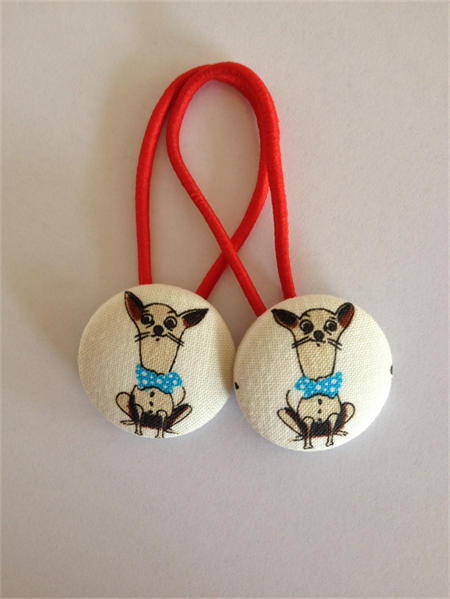 Chihuahua fabric button hairties