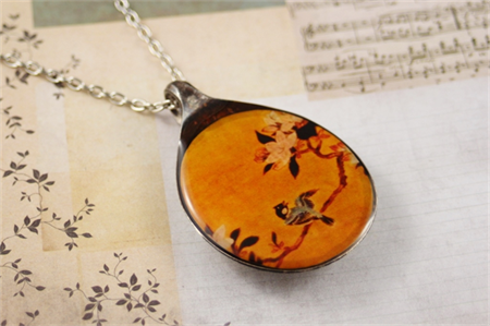 Upcycled/recycled vintage spoon resin pendant necklace, bird, floral, print