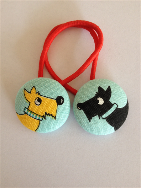 Dog fabric button hairties