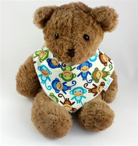 Dribble Bandanna Baby Bib So Soft, Bamboo Toweling, Cotton Monkey Fabric