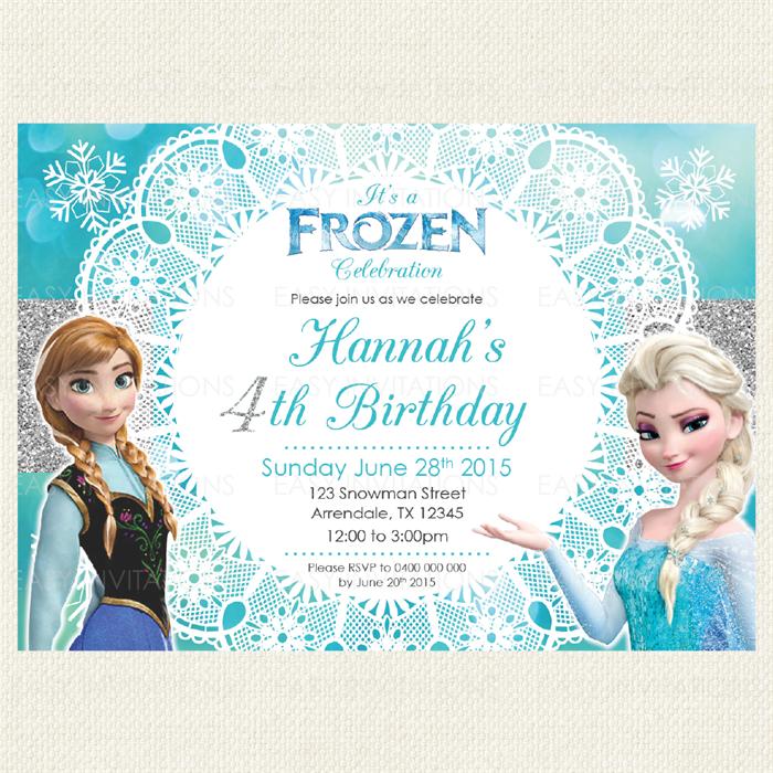 Frozen Birthday Invitation Printable Digital Boy Girl Easy Invites