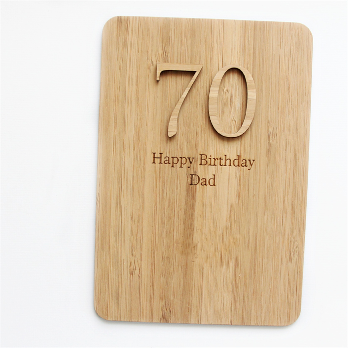 Any Age Birthday Card For Him Personalised Happy Laser Cut Bamboo Wood