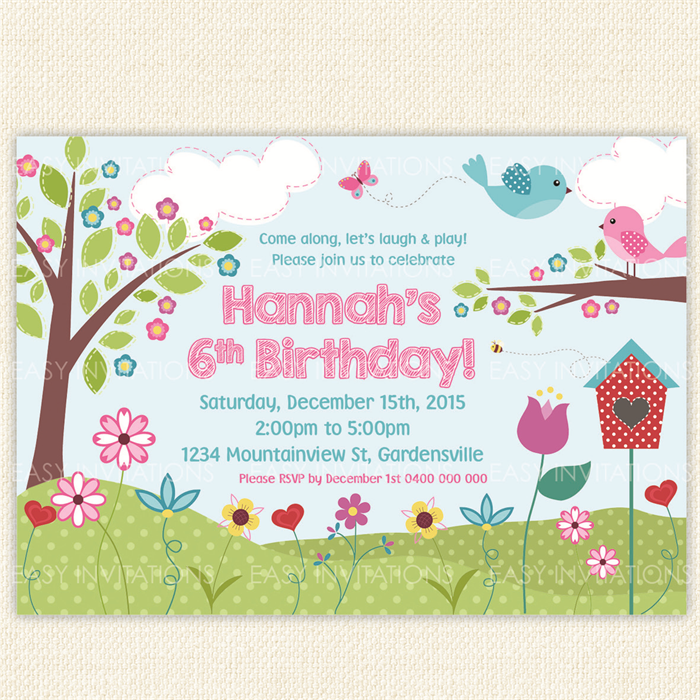 Garden Flower Butterfly Birthday Invitation Printable Girl Cute