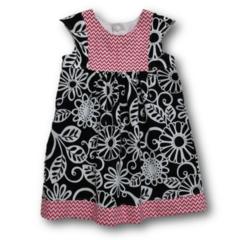 SIZE 2 Black/Pink Cotton Dress