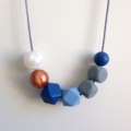 Silicone Necklace - Abstract Geo Blues with Copper