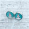 Christmas tree glass dome stud earrings