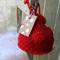 Red Drawstring Bag ~ Red Crochet Bag ~ Christmas Present ~ Handmade Red Bag