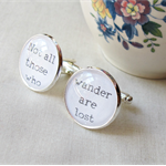 Lord Of The Rings Cuff Links Cufflinks Wedding Groom Father Silver Black White