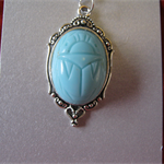 Free Shipping Blue Scarab Pendant.  Chain included. Free shipping and gift wrap.