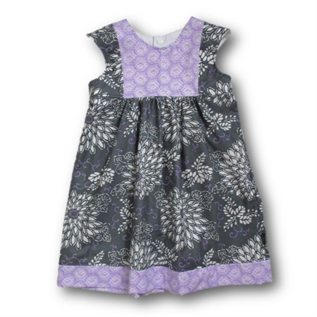 SIZE 4 Grey/Mauve Cotton Playgroup Dress