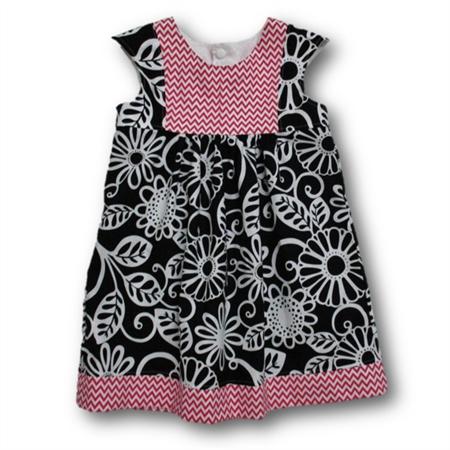 SIZE 2 Black/Pink Cotton Playgroup Dress
